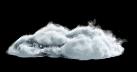 3d rendering. Realistic fluffy dense clouds on a black background. Element for your creativity