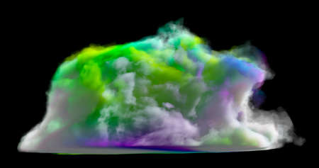 3d rendering. Multicolored dense cloud on a black background. Fantasy background. Stock fotó