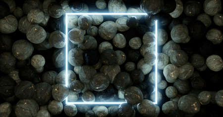 3d rendering. Neon frame in blue on a background of scattered stones. Graphic illustration.