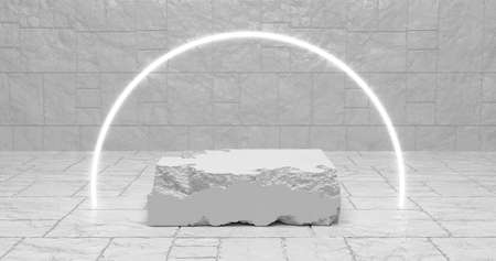 3d rendering. White pieces of stone wall with broken textured edges in neon white lighting, rubble stone slabs for product display background.