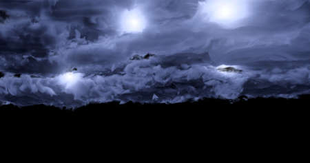 3d rendering. Dark, dense storm clouds with flashes of lightning on a black background. Graphic illustration. 版權商用圖片