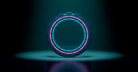 3d rendering, abstract background, round portal, pink blue neon lights, virtual reality, circles, energy source, glowing rings, empty space, frame, ultraviolet spectrum 版權商用圖片