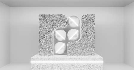 3d rendering. Abstract geometric shapes in marble or stone in a bright room and neon lighting. Indoor decoration 版權商用圖片
