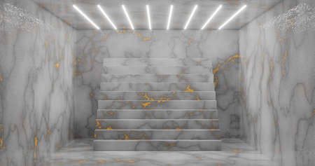 3D rendering. Abstract room interior with staircase and white neon lights. Futuristic architecture background. A box with a concrete wall. Mockup for your design project. 版權商用圖片