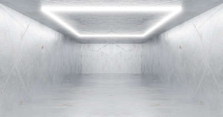 3d rendering. Neon rectangle or square, white in a bright room from mrmor. Glossy shading on the walls.