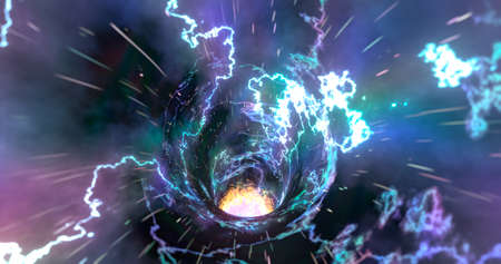 3D rendering. Wormhole in time and space. Movement at the speed of light. Abstract jump into space in hyperspace among colorful stars. Flying through nebulae or gas clusters.