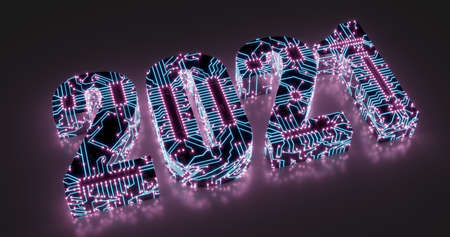 3d rendering. Illustration of 2021 lettering in electronic circuit style with neon tracks and contacts. High tech background.