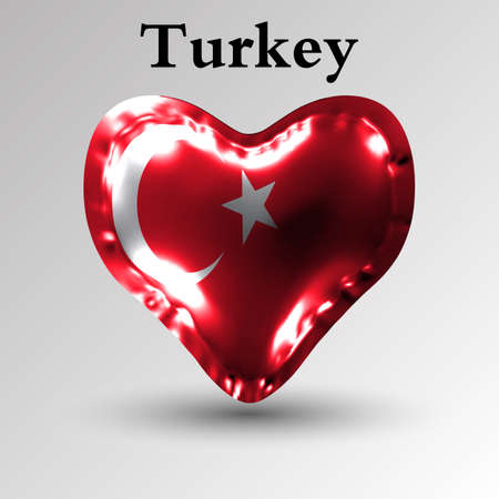 Turkish flag on an inflatable balloon in the form of a heart made of glossy film.
