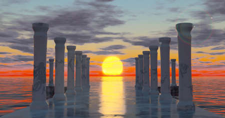 3d rendering. Round and avenue of marble stone and old dilapidated columns, illuminated by sunlight at sunset, is located on the water surface of the ocean with clouds. Graphic illustration
