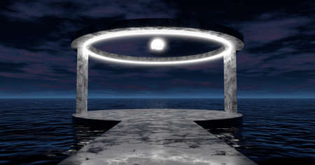 3d rendering. A round arch with a marble stone alley illuminated by bright neon light is located on the water surface of the ocean in the night sky with clouds. 版權商用圖片