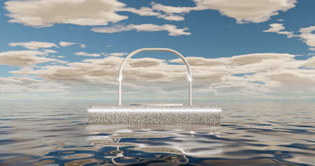 3d rendering. A circular arch on a marble stone pavement, illuminated by bright neon light, is located on the water surface of the ocean in a daytime sky with clouds. 版權商用圖片