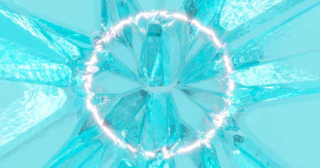 3d rendering. A bright neon circle against a background of cracked ice. Banner abstract illustration for your design.