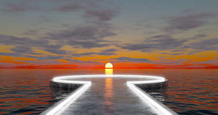 3d rendering. A round square with an alley of marble stone, illuminated with bright neon light, located on the water surface of the ocean at sunset with clouds.