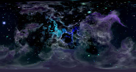3d rendering. Space background with nebula and stars. Environment 360 HDRI map. Equirectangular projection, spherical panorama. Graphic illustration.
