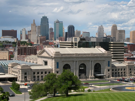 Kansas City skyline with train station in the foreground.           Stock Photo
