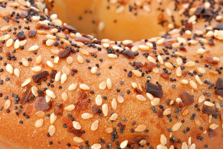 Macro of a flavorful bagel topped with onion bits, poppy seeds and sesame seeds. photo