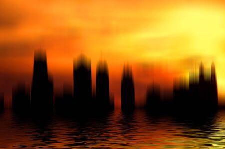 Surrealistic city scene with reflection. photo