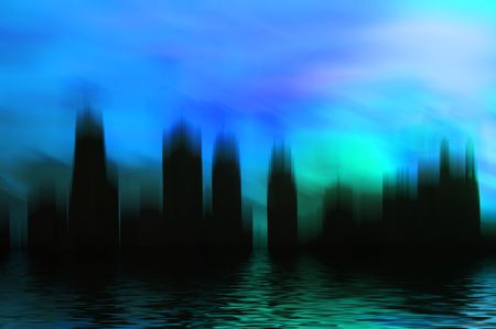 Surrealistic city scene with reflection.