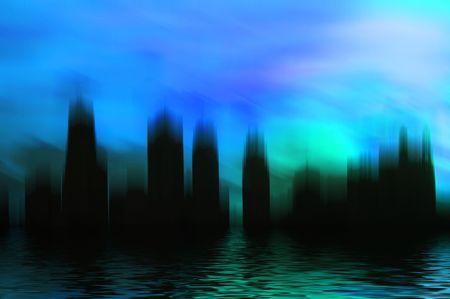 Surrealistic city scene with reflection. Stock Photo - 1908401
