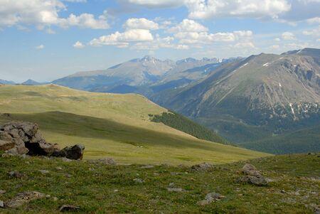 longs peak: Longs Peak in the distance along Trail Ridge Road in the Rocky Mountain National Park, Colorado.