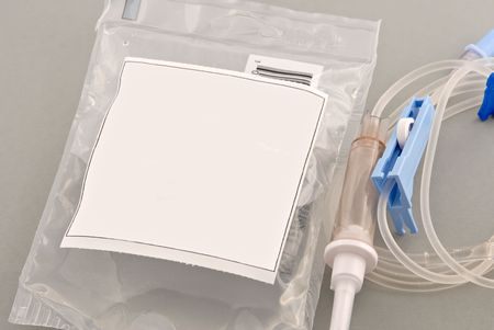 iv bag: Intravenous bag of antibiotic ready for patient. Copyspace on front for text. Stock Photo