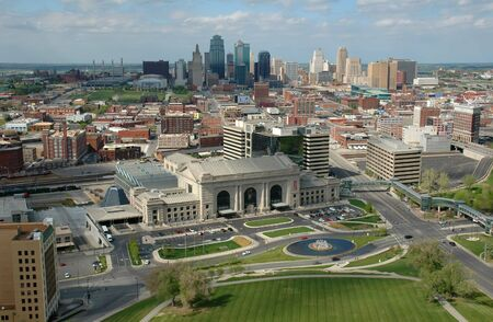 Arial view of Kansas City, Missouri. Taken from the top of Liberty Memorial. Stock Photo