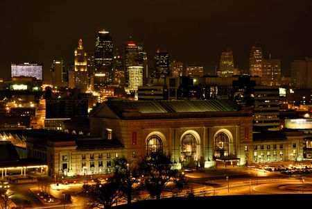 Downtown Kansas City with Union Station in the foreground on a winter night. Stock Photo