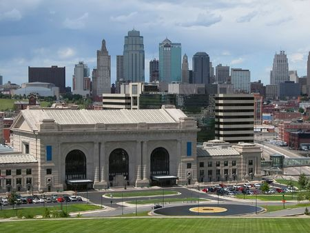 Kansas City skyline with the train station, Union Station in the foreground.