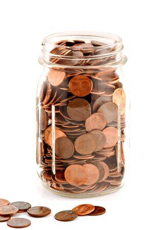 pennies: Pennies in a jar.