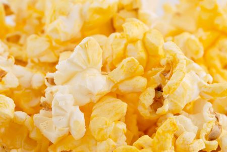 junkfood: Closeup of fresh buttery popcorn.