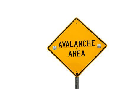 avalanche: Avalanche area sign isolated on a white background.