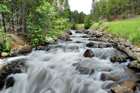 Rocky stream in the Rocky Mountain National Park, Colorado.
