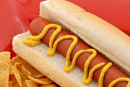Hotdog and corn chips on a red plate.