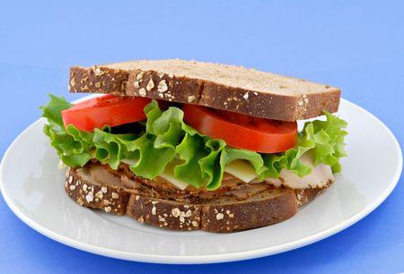 Smoke turkey sandwich on whole grain oat bread against a blue background.
