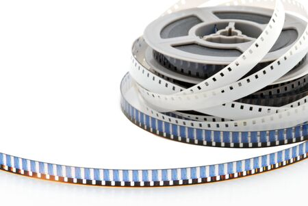8mm movie film isolated on a white background.