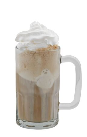 A cold root beer float isolated against a white background with a clipping path.