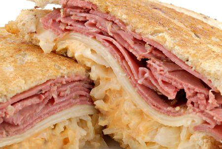 Closeup of a hearty reuban sandwich. Stock Photo