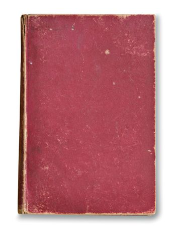 scratched: The front of an old book cover covered in dirt and scratches. Stock Photo