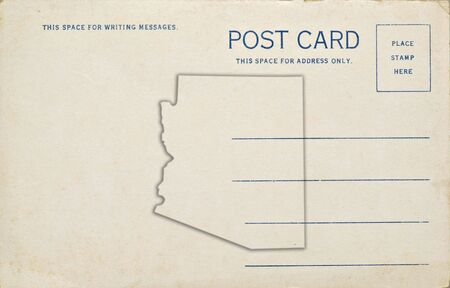 A old postcard with an Arizona map outline. Dirt and scratches at 100%. photo
