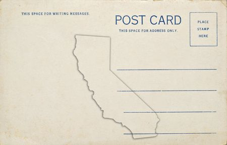 postmark: A old vintage blank postcard with the California map outline on the back. Stock Photo