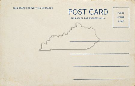 An old postcard with a Kentucky map outline. Dirt and scratches at 100%. photo