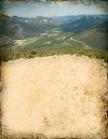 colorado mountains: Grunge background of a scenic vista in the Rocky Mountain National Park, Colorado. Stock Photo
