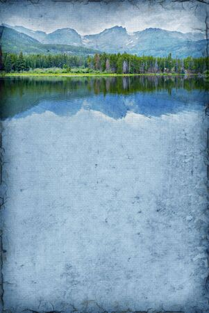 Illustration art of a mountain lake on a grunge background with room for text. Stock Photo