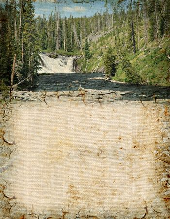 lewis: Grunge background of Lewis Falls in Yellowstone with space for text.
