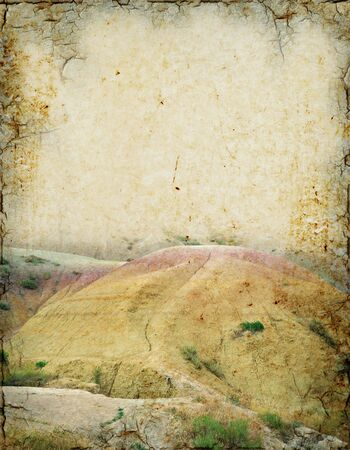 old pc: Grunge background of Badlands scenery with room for text.