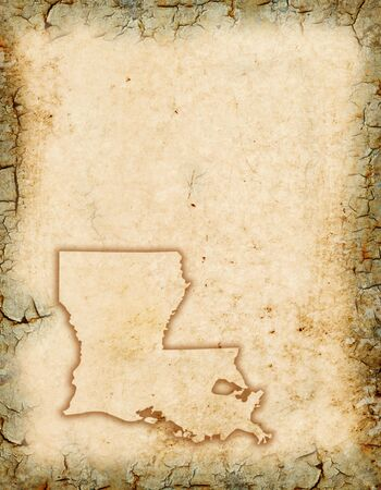 Grunge background with a Louisiana map outline.