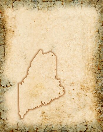 Grunge background with a Maine map outline. Stock Photo
