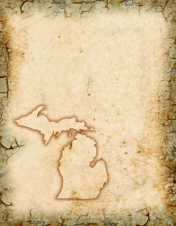 Grunge background with a Michigan map outline.