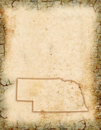 Grunge background with a Nebraska map outline.