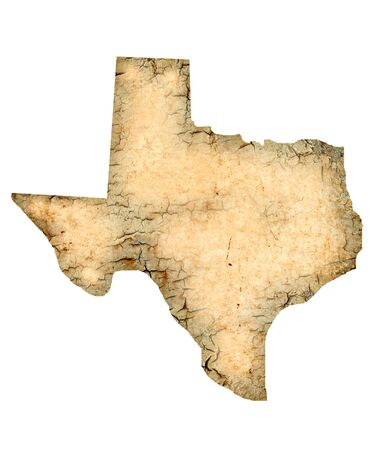 Grunged Texas map isolated on a white background.
